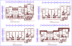 Cold water piping level view of house building dwg file