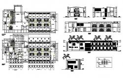 Colibri hotel building elevation, section, floor plan and auto-cad details dwg file