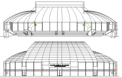 Coliseum Architecture Layout and Elevation dwg file