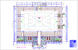 Coliseum area plan with sport center dwg file