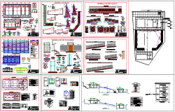 Collage design view class room, column structural view dwg file