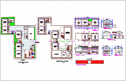 Collage design view with plan and elevation and section view dwg file