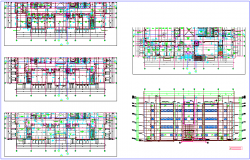 Collage floor plan and elevation dwg file