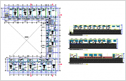 Collage plan and section with door and window view dwg file