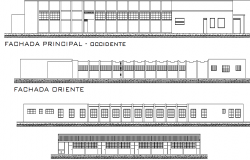 College Commercial building Elevation plan detail dwg file