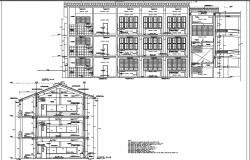 College Section A-A' detail and section B-B' detail dwg file
