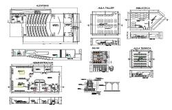 College building departments layout plan cad drawing details dwg file