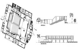 College building elevation facade and back and distribution plan details dwg file