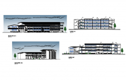 College elevation and section plan detail dwg file