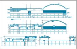 College front, back and side elevations details dwg file