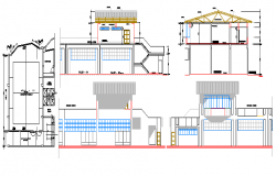 College in Industrial Area Elevation and Section Details dwg file