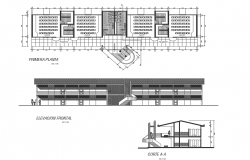 College plan, elevation and section plan detail dwg file