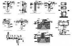 Column, beam and ceiling construction details of building dwg file