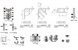 Column, brick wall and construction details of commercial building dwg file