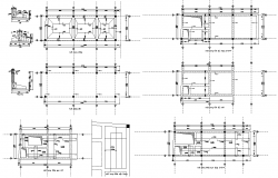 Column CAD structure detail plan and section 2d view layout file