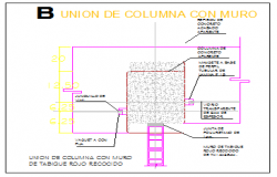 Column Union with wall detail design drawing