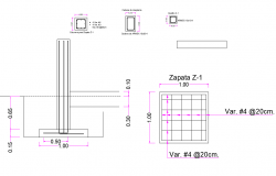 Column and Foundation section plan layout file