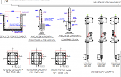 Column and beam construction details of corporate office dwg file