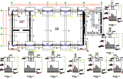 Column and beam foundation details of school project dwg file
