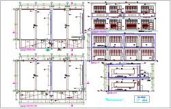 Column and beam view with structural detail of education center dwg file