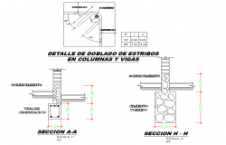 Column and bolt nut section detail dwg file