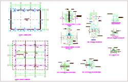 Column and foundation plan view with detail for classroom dwg file