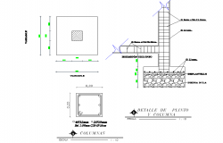 Column and foundation section plan autocad file