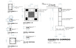 Column and foundation section plan detail dwg file