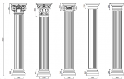 Column and pillars front elevation dwg file