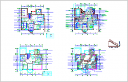 Column and stair view of flat dwg file