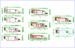 Column and wall view of floor plan dwg file