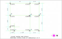 Column center line detail with proposed control room and column structure view for office dwg file