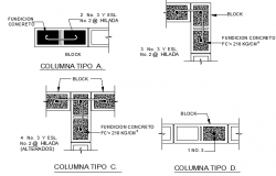 Column construction details of room dwg file