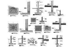 Column construction details with wall cad drawing details dwg file