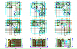 Column design view with elevation view of corporate building dwg file
