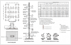 Column design with its detail view for apartment dwg file