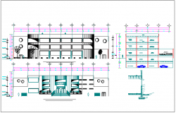 Column detail view with elevation for admin office dwg file