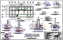 Column detail with its section view and cimentacion plan of stadium design dwg file