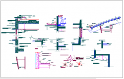 Column detail with structural view dwg file