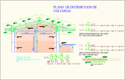 Column distribution with column detail for education center dwg file