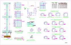 Column elevation,plan and related detail view with structure view dwg file