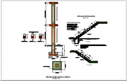 Column elevation section plan detail and stair section detail dwg file