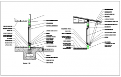 Column floor and roof construction detail dwg file