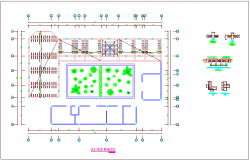 Column lighted plan view of community center dwg file