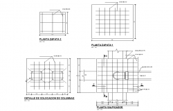 Column plan and section autocad file