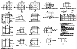 Column plan and section detail dwg file