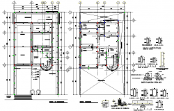 Column plan and section plan detail dwg file