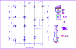 Column plan view in residence of house with structural view dwg file