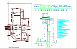 Column plan with detail of section view with structural view for house dwg file