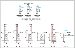 Column section and elevation detail dwg file